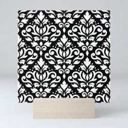 Scroll Damask Big Pattern White on Black Mini Art Print