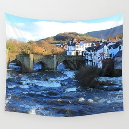 Bridge over  River Dee in spate at Llangollen, Wales Wall Tapestry