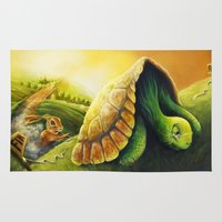 neil gaiman Area & Throw Rugs featuring Tortoise and the Hare, by Neil Price by Neil Price
