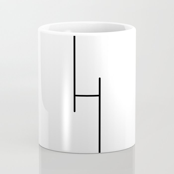 """ Tower Collection "" - Minimal Letter H Print Coffee Mug"