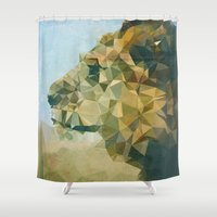lion Shower Curtains featuring Lion by Esco