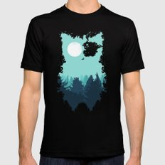 Winter Owl Mens Fitted Tee MEDIUM Black