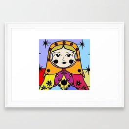 Matryoshka russian doll colorful illustration wall decor - Luba Framed Art Print