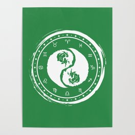 Taurus Yin Yang Second Zodiac Sign Poster