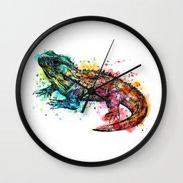 Colourful Tuatara Wall Clock