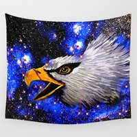eagle Wall Tapestries featuring Eagle by Saundra Myles