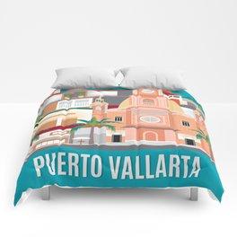 Puerto Vallarta, Mexico - Skyline Illustration by Loose Petals Comforters