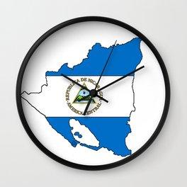 Nicaragua Map with Nicaraguan Flag Wall Clock