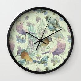 Bluebells and Birds Wall Clock