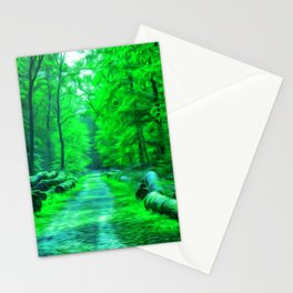 Forest Road - Oil painting - Green hue Stationery Cards
