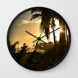 Photo 33 beach palm trees Wall Clock