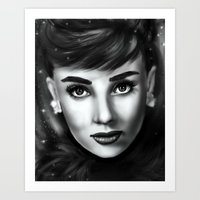 audrey Art Prints featuring Audrey  by Lily Fitch