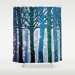 The forest of fireflies Shower Curtain
