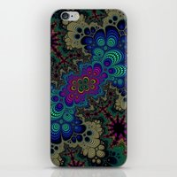 novelty iPhone & iPod Skins featuring Peacock Fractal by Moody Muse