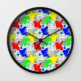 Silly Little Robot Artist Repeating Pattern Wall Clock