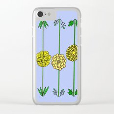 Garden Flowers Illustration - in Yellow Clear iPhone Case