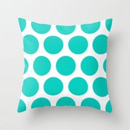 Large Polka Dots: Aqua Blue Throw Pillow