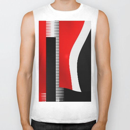 black and white meets red version 16 Biker Tank
