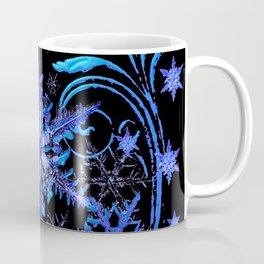 DECORATIVE BLACK & BLUE WINTER SNOWFLAKE FANTASY ART Coffee Mug