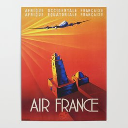 Vintage Mid Century Travel Poster Air France Jet African Islamic Mosque Monochrome Orange Sunset Poster