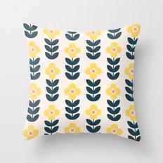 Vintage geometric flowers Throw Pillow