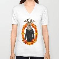jackalope V-neck T-shirts featuring Jackalope Evolved by Silvio Ledbetter