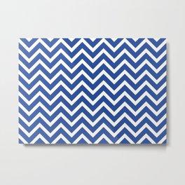 blue, white zig zag pattern design Metal Print