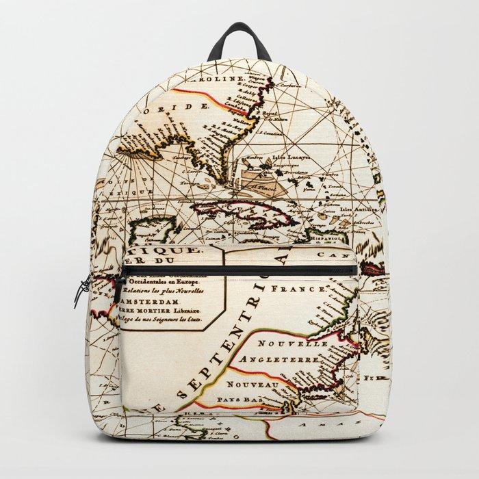Vintage Atlantic Ocean Map Backpack