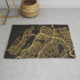 OAKLAND CALIFORNIA GOLD ON BLACK CITY MAP Rug