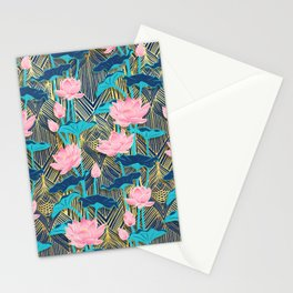Art Deco Lotus Flowers in Pink & Navy Stationery Cards