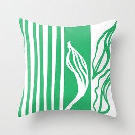 Long Leaf Stripe green Throw Pillow