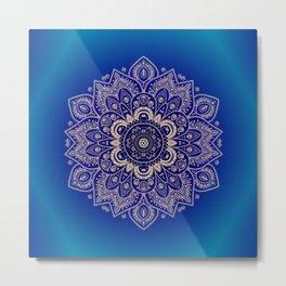 Temptation - Mandala 1 on Blue Backgound  Metal Print