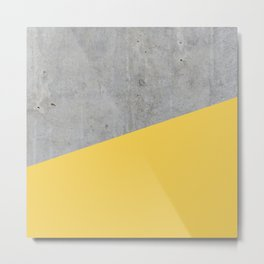 Concrete and Primrose Yellow Color Metal Print