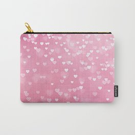 Pretty Pink Bokeh Love Hearts Carry-All Pouch