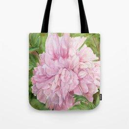Pink Peony Floral Watercolor Original Painting Botanical Garden Flower Detailed Realism Tote Bag