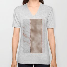 Rose metallic striping - marble and blush Unisex V-Neck
