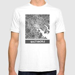 Baltimore map yellow T-shirt