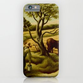 Classical Masterpiece 'Noon Time' Old West Harvest Time portrait painting by Thomas Hart Benton iPhone Case