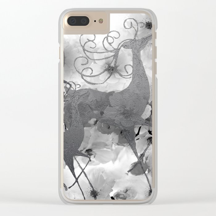 REINDEER AND FLOWERS Clear iPhone Case
