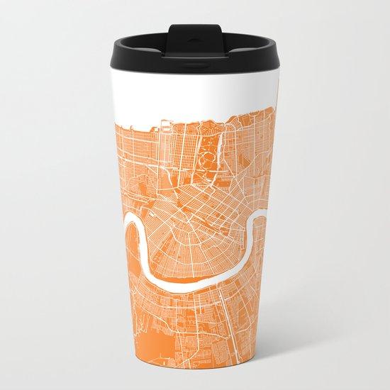 New Orleans map orange Metal Travel Mug