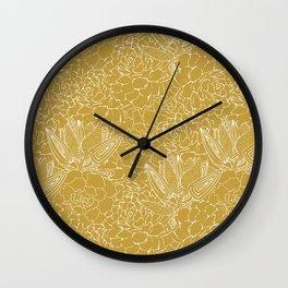 Mustard Succulents Wall Clock