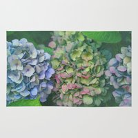hydrangea Area & Throw Rugs featuring hydrangea by EnglishRose23