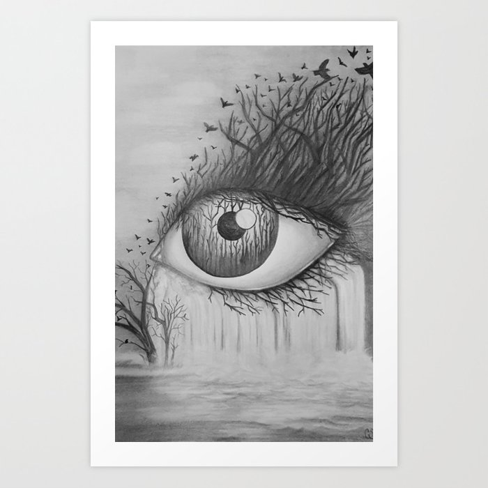 Eye With Waterfall Pencil Drawing Art Print By Redchanteuse Society6