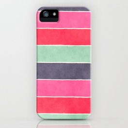 Geometric modern pink coral mint gray watercolor pattern iPhone Case