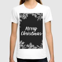 Merry Christmas Black and White T-shirt