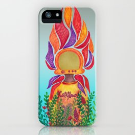 Wildfower - Background colour (Grey Turquoise) iPhone Case