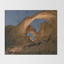 Double Arch And The Milky Way - Arches National Park - Moab, Utah. Throw Blanket