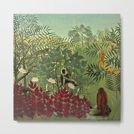 Classical Masterpiece 'Tropical forest with monkey and snake' by Henri Rousseau Metal Print