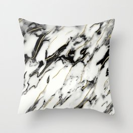 Classic White Marble Gold Foil Glam #1 #marble #decor #art #society6 Throw Pillow