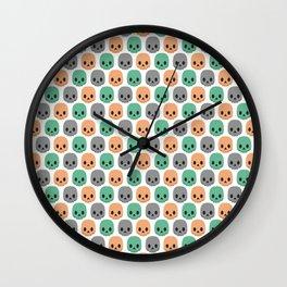 Orange, green and grey skulls Wall Clock